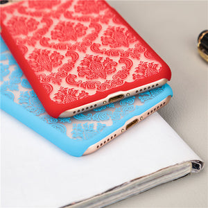 New Frosted Phone Case for Apple iPhone 5 5S SE 6 6S 6Plus 6s plus 7 7Plus Case Vintage Damask Flower Pattern Luxury Back Cover