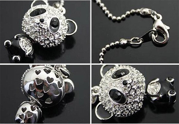 Pretty Enamel Rhinestone Panda Pendant Necklace Women Crystal Accessories Sweater Necklaces Jewelry