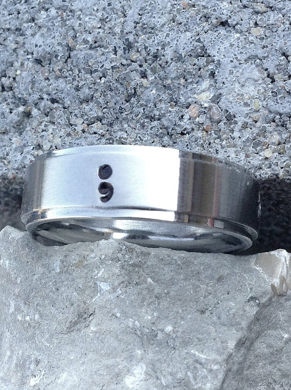 Semicolon Alloy handstamped ring- Suicide Awareness, Silver plated rings Suicide Prevention with gift box