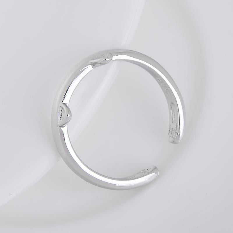 Silver Plated Cat Ear Ring Design Cute Fashion Jewelry Cat Ring For Women Young Girl Child Gifts Adjustable Anel