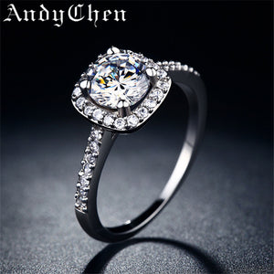 Silver Plated Wedding Rings For Women Square Simulated Diamond Jewelry Bague Bijoux Femme Engagement ring Accessories