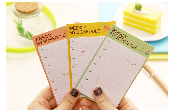 3 Lot ( 2pcs/Lot) Fresh Style Weekly & Daily Schedule Mini Memo Pad N Times Sticky Notes Bookmark School Office Supply Escolar Papelaria