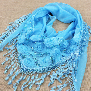 1pcs/lot spring and autumn women's embroidered trigonometric cape scarf bib tassel silk scarf free shipping