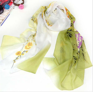 Free Shipping 2016 New Arrive Women Beautiful Flower Print Oil Painting Long Silk Scarf Women Shawls Birthday Gift