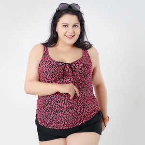 Fashion 2016 Summer Women Leopard Tankinis Set Swimwear Brazilian Female Swimsuit Plus Size Bathing Suit For Big Women 2XL- 6XL