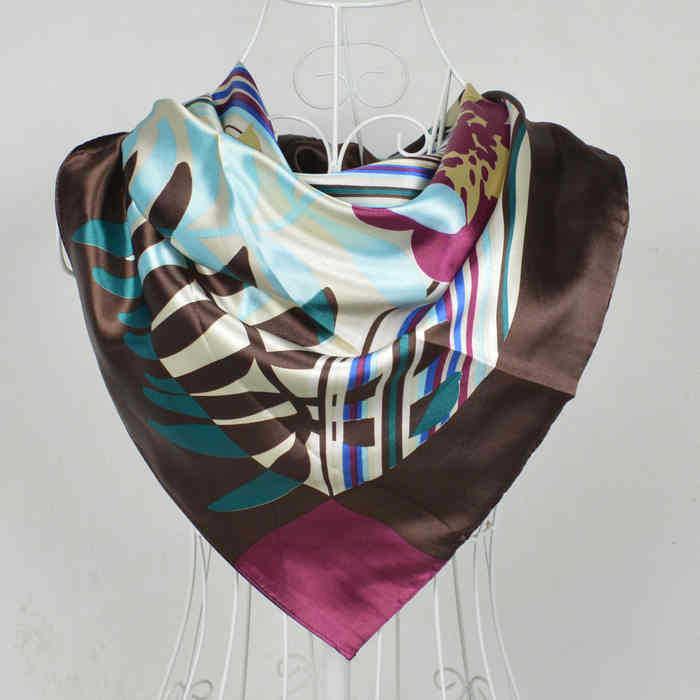 2016 Elegent Women Large Square Silk Scarf Printed,90*90cm Fashion Spring And Autumn Grey And Purple Polyester Silk Scarf Shawl