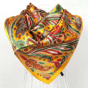 2016 Sping And Autumn Female Satin Scarf,Big Square Scarves Printed,Women Scarf,Purple Polyester Silk Scarf Shawl 90*90cm