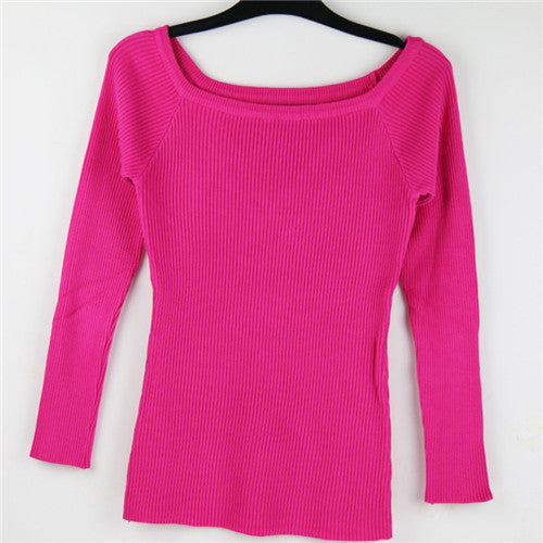 Sexy Autumn and Winter Women Basic Pullover Sweaters female slit neckline Strapless Sweater thickening sweater top thread slim