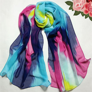 Modern Fashion Luxury Chinese Ink Style Women Chiffon Wraps Scarf Women Winter Long Scarves Warm Shawl from china clothes Aug27