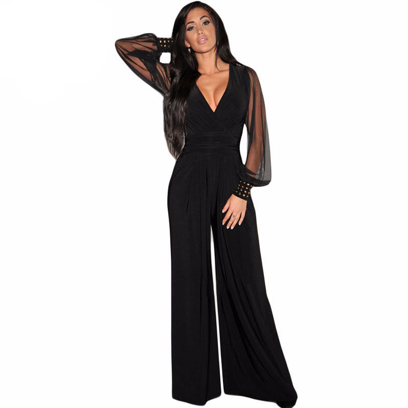 DearLove Winter Autumn Club Party Black V-neck Embellished Cuffs Long Mesh Sleeves Loose Jumpsuit rompers womens jumpsuit