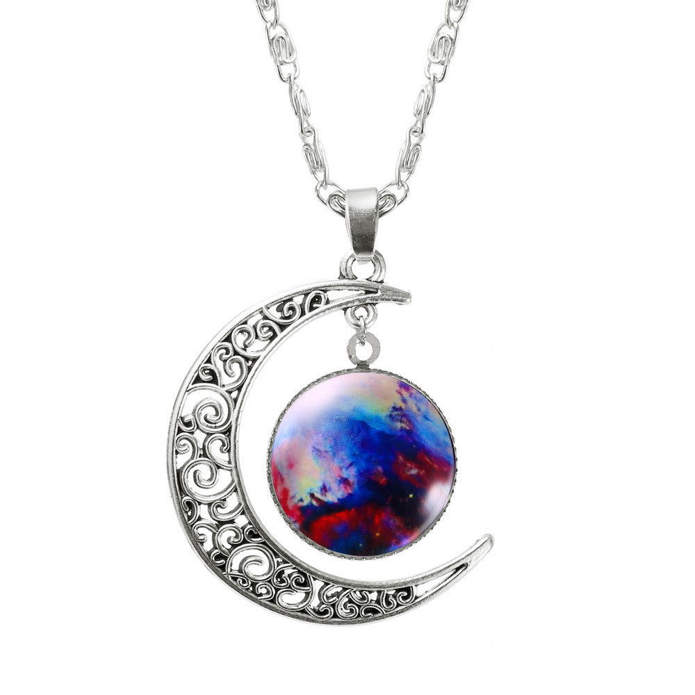 2017 New Hot Fashion Jewelry Choker Necklace Glass Galaxy Lovely Pendant Silver Chain Moon Necklace