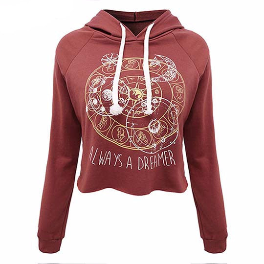2017 New Casual Women T Shirts Hooded Long Sleeve Round Neck Short Shirt Women's Clothing American Apparel