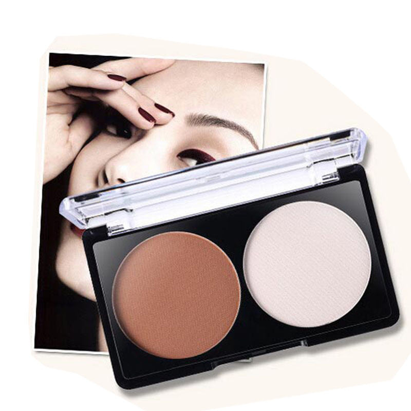2 Color Face Shading Powder Contour Bronzer Highlighter Palette Set Trimming Powder Makeup Face Contour Grooming Pressed Powder