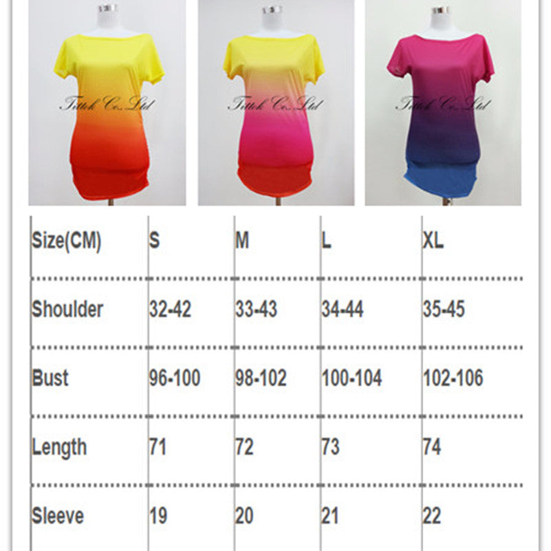 2017 summer women t shirt vestidos rainbow gradual change print tops casual female