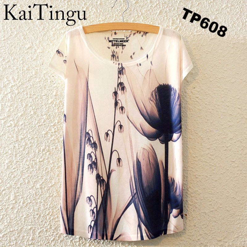 Brand New Fashion Summer Harajuku Animal Cat Print Shirt O-Neck Short Sleeve T Shirt Women Tops White T-shirt