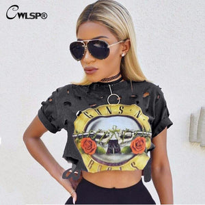 Sexy Hole Women T-Shirt 2017 New GUNS N ROSES Print Crop Top T Shirt Cropped Tops Hollow Out Short Sleeve Tee Shirt Femme