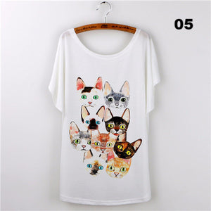 Harajuku Cat t-shirt Women Tee Shirt Femme 2017 Casual Animal Cartoon print short sleeve Loose Ladies Tops Female T shirt White