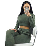 2017 Women Two Piece Outfits Pants Set Rompers Jumpsuit Long Pants 2 Piece Set army green o neck Crop Tops Bodycon Palysuit gray