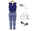 2017 Summer Style Women Print O-neck Jumpsuit overalls Fashion Sleeveless Loose Slim Rompers Sexy Jumpsuits Playsuit