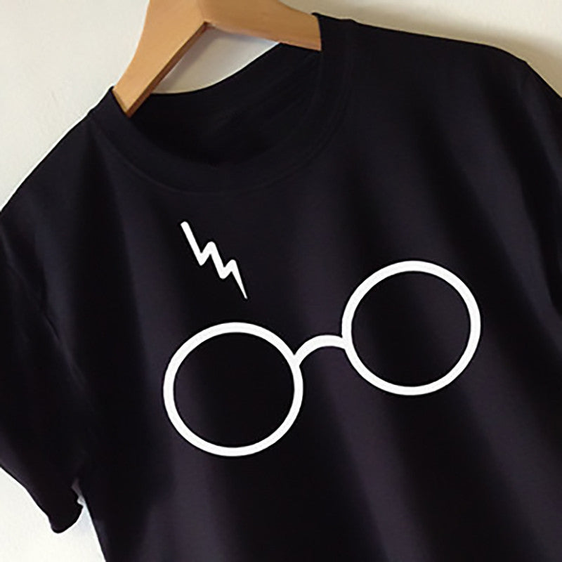 2017 New Womens Harry Potter Lightning Glasses Printed T-shirt Tees Harajuku Tshirt Plus Big Size S-xl