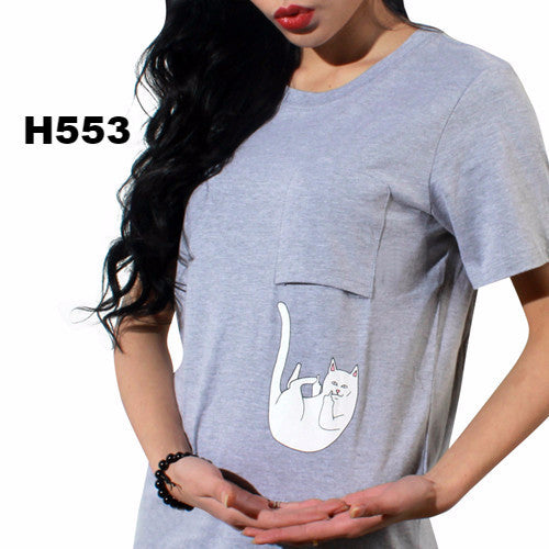 New Summer Pocket Harajuku Cat Lovers Women Top Short-sleeve T shirt  Sweet Style Black/White/Grey Plus Size