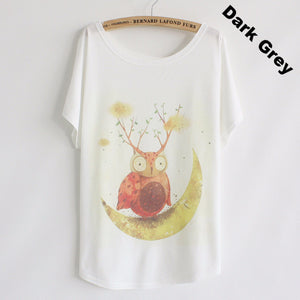 Summer T shirt women style thin plus size loose batwing sleeve women's T-shirt  cat kiss Fish print Top Tees