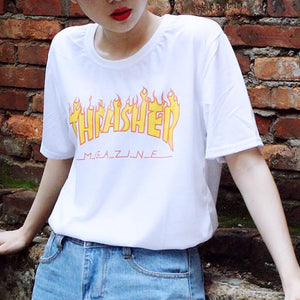 Summer All-match Harajuku Street Graffiti Style Loose Short Sleeve Female Cotton T-shirt for Women Fashion Camisetas Mujer