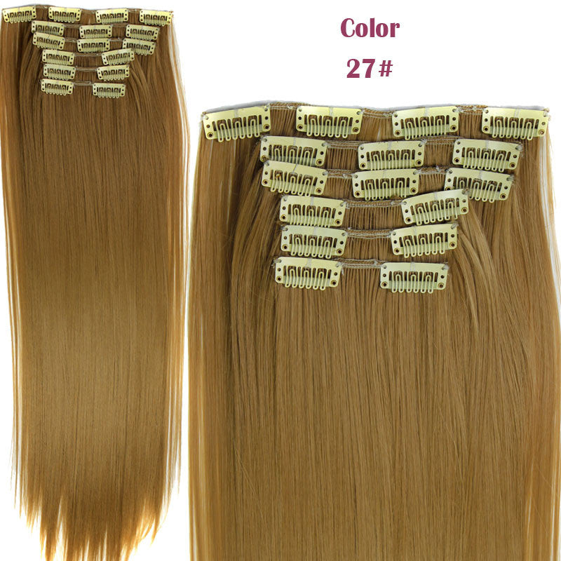 Hairpiece 23inch 140g Straight 16 Clips in False Hair Styling Synthetic Clip In Hair Extensions 6pcs/set Heat Resistant Hair Pad