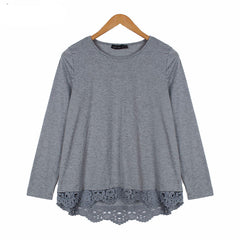 Autumn Blouse Fashion Women Long Sleeve O-Neck Casual Tops Sexy Lace Crochet Blusas Shirts Plus Size
