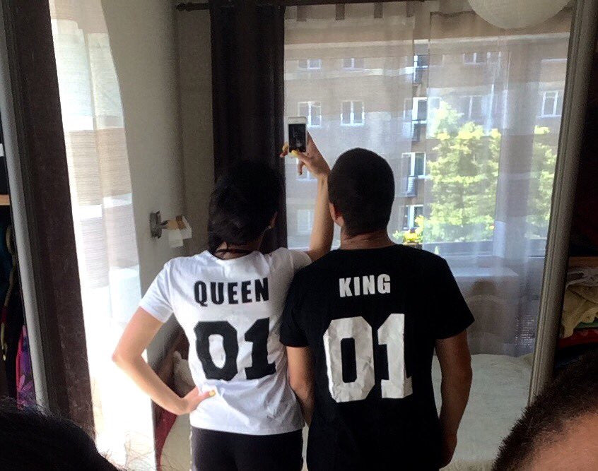 0e9cef6992 Valentine Shirts Woman Cotton King Queen 01 Funny Letter Print Couples  Leisure T-shirt Man