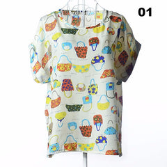 Batwing Sleeve Women Blouses Clothing Casual Chiffon Shirt Blusas Tops Heart Animal Stripe Leopard Print Pattern Plus size