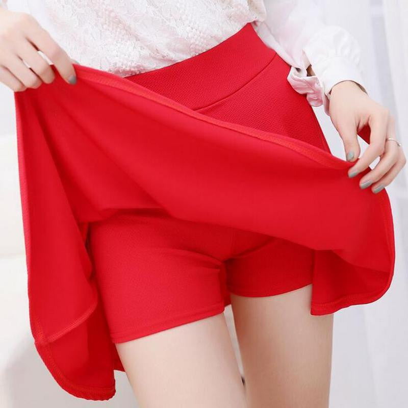 10 Colors Women Skirt Shorts Plus Size Candy Colors Red White Blue Pleated Skirts Prevent Exposure High Elasticity Pleated Saia