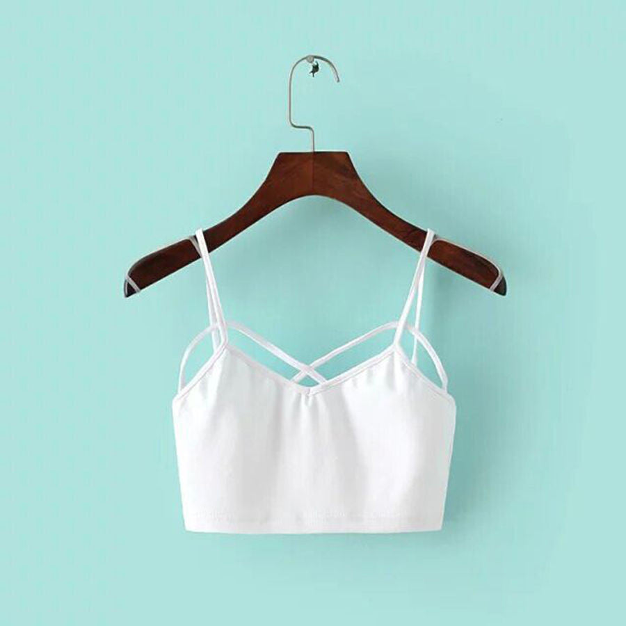 New Sexy Women Cut Out White Bra Bustier Crop Top Bralette Strappy Crochet Cropped Blusas Bandage Halter Tank Tops Camisole Z1