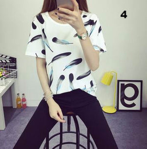 2017  fashion Women's Summer T-Shirt Clothes Shirt  O-neck funny cat printing