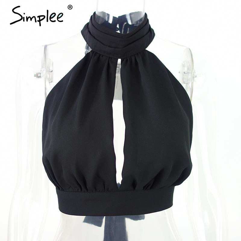Simplee Apparel Summer  sexy backless black lace women tank top Girls high neck elegant halter tops Party bow