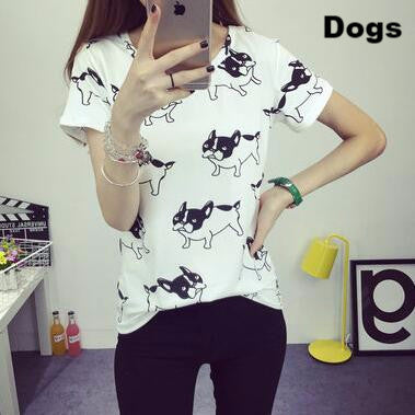 2017 New Arrival Women's Summer T-Shirt Lovely Donald Ducks Printed Basic Bottoming Short Tops 2 Colors