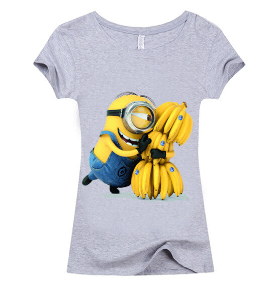 (Harajuku T Shirt) Sexy cute Womens Lycra Tee T Shirt Ladies Minion Slim Summer 3d kawaii Women T-Shirts Minions Cartoon Top