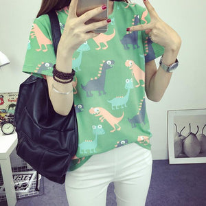Korean Retro Animal Dinosaur Printing T shirt Women 2016 Summer Japanese Harajuku Style Short-sleeved T-shirt Woman Tops S-XL