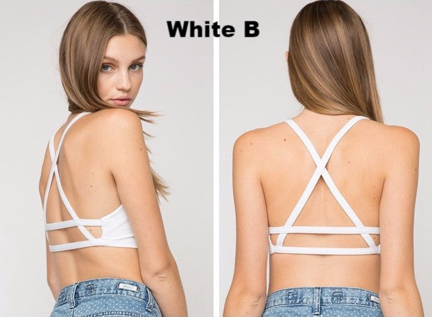 Fashion Sexy Women Cotton Hollow Back Shirt Tank Top Padded Bra Wrap Vest Chest Bra Crop Tops