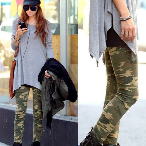 2017 New Cool Fashionable Ladies Camouflage Army Stretch Leggings Graffiti Slim For Mature Women