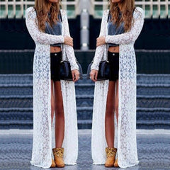 6 Color Blusas Women Outwear Lace Crochet Long Sleeve Beach Kimono Cardigan Casual Loose Long Blouses Tops Plus Size Shirts