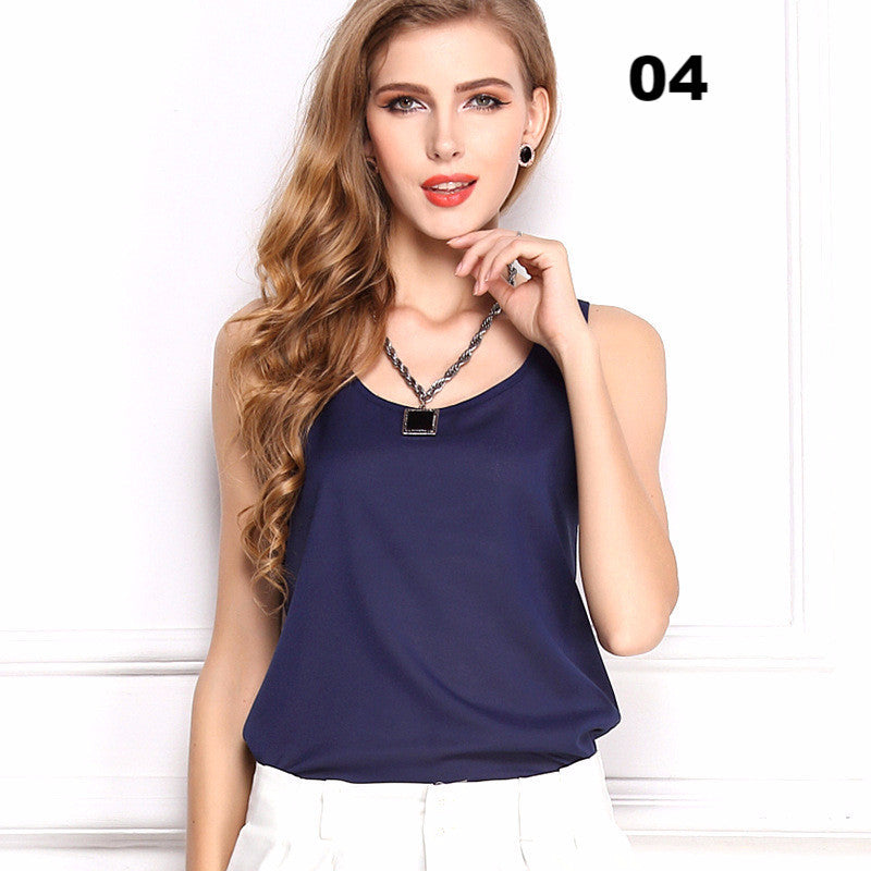 15 Candy Colors New Fashion Summer Tops T-Shirt Women O Neck Sleeveless Simple Style Casual Chiffon T Shirt Tees Plus Size