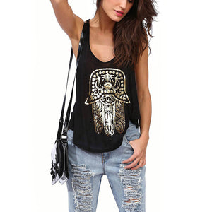 New Fashion Women Hamsa Hand Print Shirt Tops Sleeveless Tanks Punk Tops Blouse Hot L34