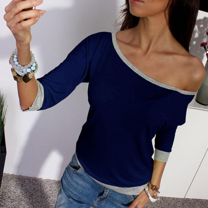 New Spring Sexy Women Long Sleeve Loose Casual Off Shoulder Tees T shirt Tops Multicolor Womens Plus Size T-shirt