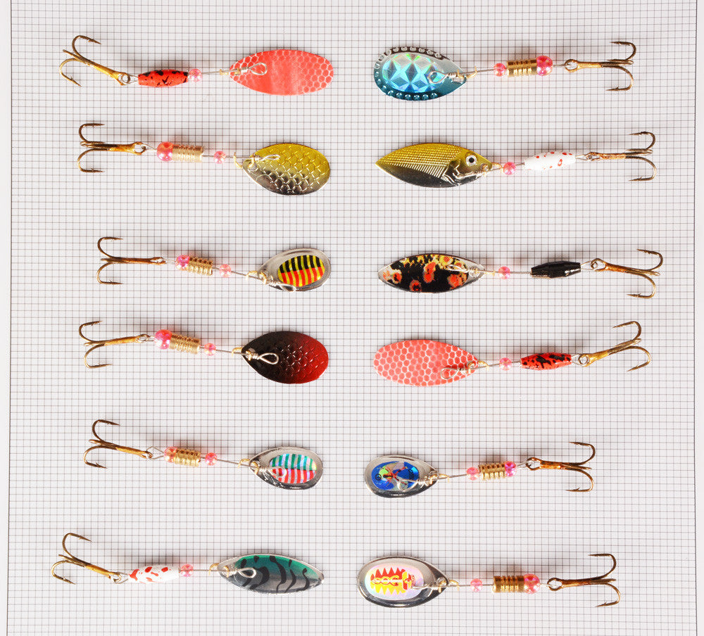 Hot 30pcs/lot Spinners Fishing Lure Mixed color/Size/Weight Metal Spoon Lures hard bait fishing tackle Free Shipping Atificial