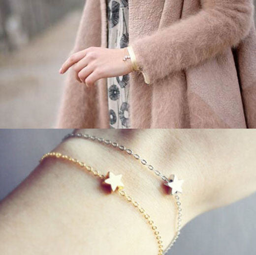 2 Pcs/Lot Fashion Simple Gold Silver Plated Star Chain Charm Bracelet Women Girl Jewelry Gift