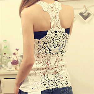 Summer New Fashion Womens Tank top Sexy lace tops Crochet Back Hollow-out woman Vest Camisole lace Black& Whit Vest