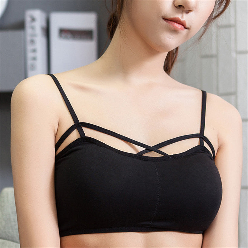Sexy Female Strappy Bra Bralette Crop Vest Top Stripe Cropped Tops Cotton Tank Tops Women Camisole Sexy backless Strappy Bustier