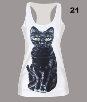 Fashion 3D Digital Women Slim Sleeveless Tank Tops Print Gothic Punk Party Tee Shirts Vest