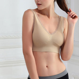 Breathable Women Seamless Fitness Lace  Bra Push Up Bra Tops Shakeproof Underwear S-3XL